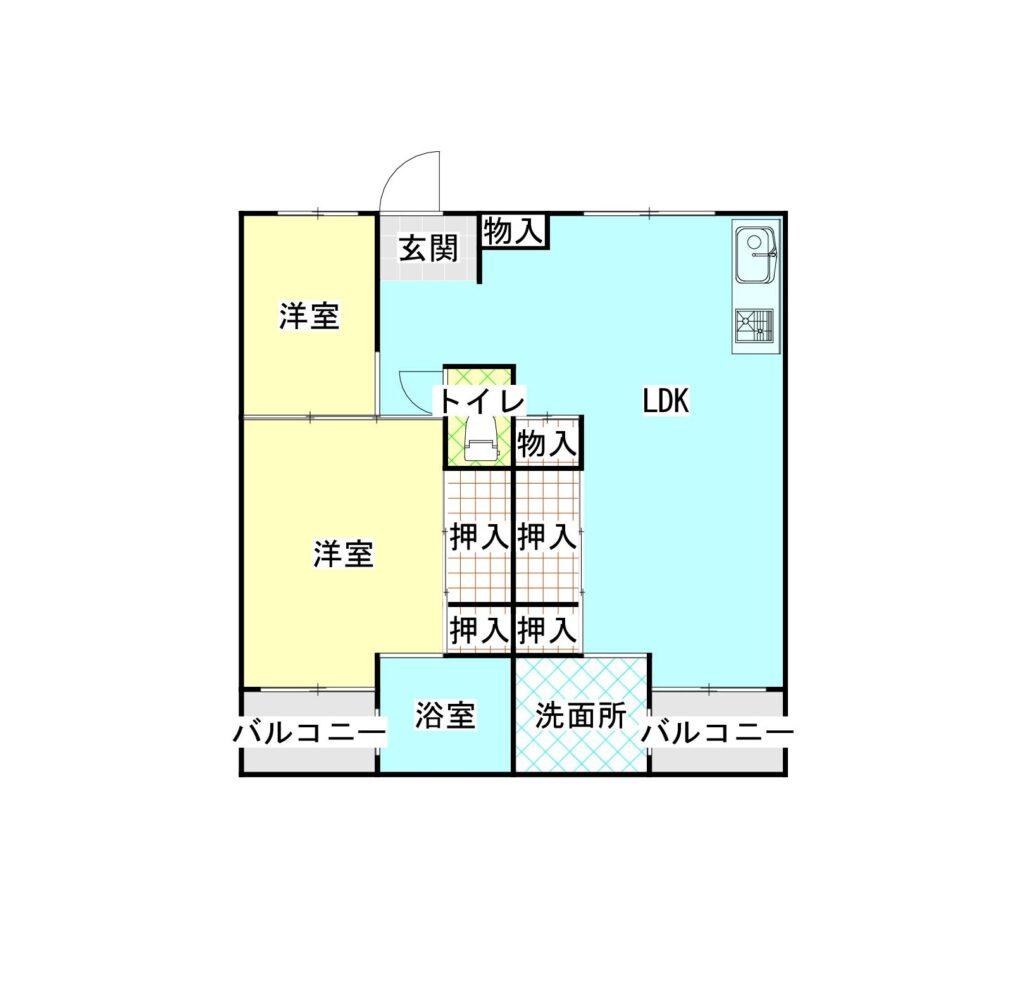 ビレッジハウス下更地1号棟205号室 間取